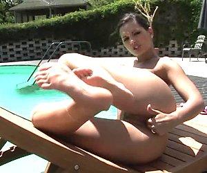 Sizzling Eve Angel fingers her throbbing pantie pot