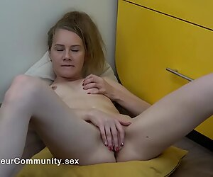 Hot blonde chick touching her pussy