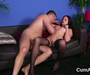 Hot beauty gets sperm load on her face swallowing all the jizz