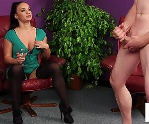 CFNM milf voyeur instructing tugging guy
