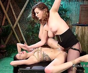 Slim small tits lesbian anal fucked