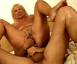Hussy granny riding hard stick in old young fuck scene