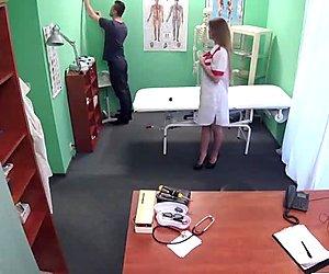Sexy nurse Denny seduces a lucky patient and rides his cock