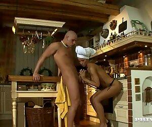 Sultry housewife Angel Dark sucks huge dick in the kitchen