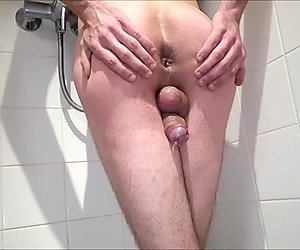 Rear View Peeing - BvdH's Erection Stifled Between Legs - Anal Contractions