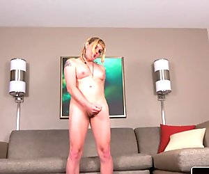 Inked smalltitted femboy spreading ass solo