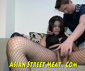 Thai Bum Bitch With Glasses Opens Sphincter