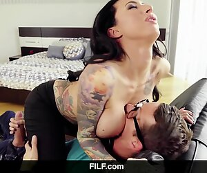 MILF - Lily Lane catches StepSon jerking on her nude photos