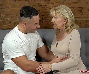 Beautiful blonde grandma fucked by a stud