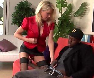 Mature slut rides a big black cock