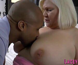 Grandma titfucks sucks and rides black cock