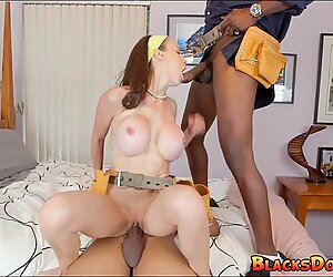 Mother fucked by two black workers