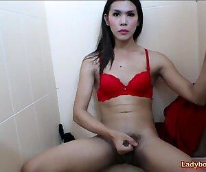 Ladyboy Janny Masturbating Action