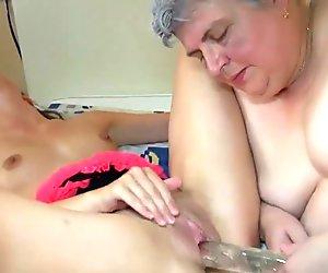 Big fat Granny with a cute girl