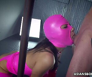 Impecable fucking of a masked tight ass Asian frea