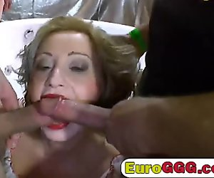 Dirty European blondes are the stars of this bukkake pissing party