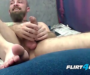 Fetish Master Teases Slave with Feet and Cums Hard