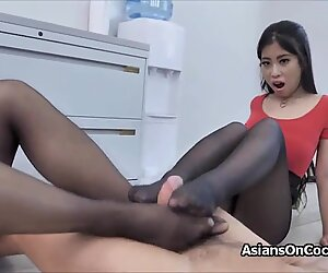 Threesome at the office with Asian secretaries in pantyhose