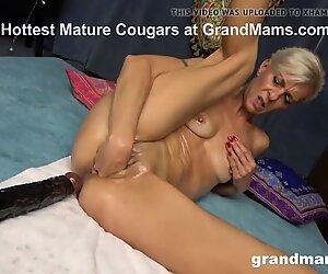 Old Slut Shoves Massive Dildo in her Worn Out Pussy