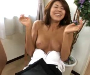 Busty Japanese slut learns how to suck dick