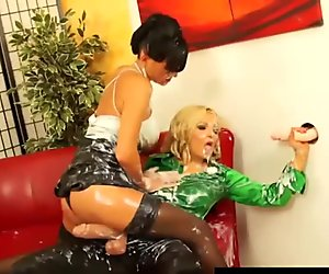 Strapon loving lesbian blasted with cream