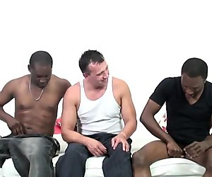 Nervous first timer sucking black cocks to finance his colle