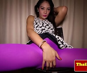 Thai ladyboy rubs her asshole in sensual striptease