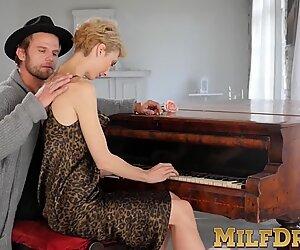 Mature blonde lady Natalie Anna sucks dick and fucked hard