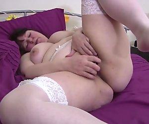 Big chubby mature mom in white stockings