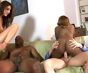 Dirty house wives are banged hard in filthy interracial swingers porn video