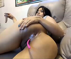 Busty Latina Babe Shoving Dildo In Her Ass (Anal)