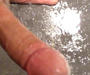Playing with my hard Dick and cumming in the shower