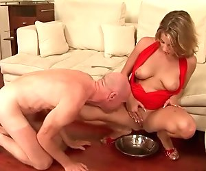 Pretty girl humiliating older bald guy