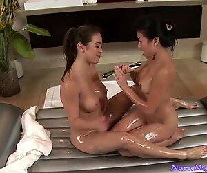 Mia Lelani, Jackie Lin share a dildo for pleasing pussies