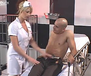 Cute and busty nurse Brooke Haven giving blowjob to the patient