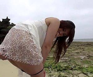 Outdoor sex fun with charming Asian chick in white dress Mayuka Akimoto