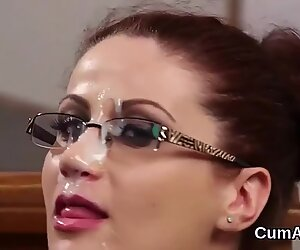 Horny idol gets cumshot on her face gulping all the jizz