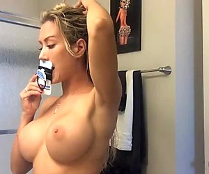 Capri's sexy home video - topless blow dry