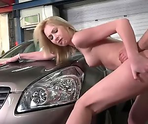 Young Blonde Rides Old Guy's Dick In Garage