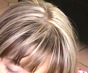 Petite blonde teen Gina fills her mouth with 10 inches of white meat