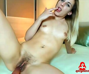 Petite Young Blonde Pleasures Her Hairy Pussy